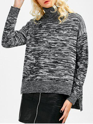 Outfits Marled Boxy Turtleneck Sweater GRAY ONE SIZE