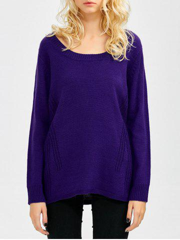 Discount Scoop Neck Relaxed Sweater VIOLET ONE SIZE
