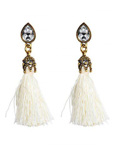 Hot Rhinestone Water Drop Tassel Earrings WHITE