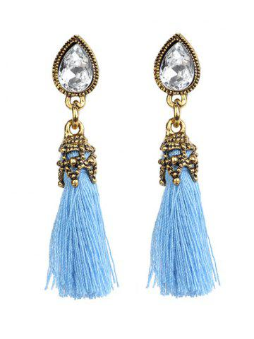 Best Rhinestone Water Drop Tassel Earrings BLUE