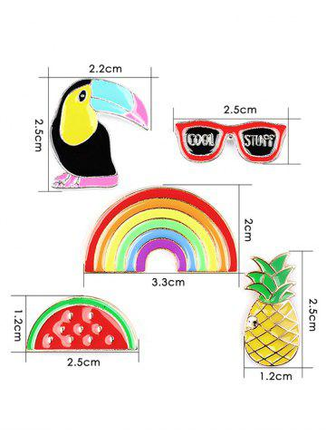 Affordable Pineapple Rainbow Watermelon Glasses Brooch Set - COLORMIX  Mobile