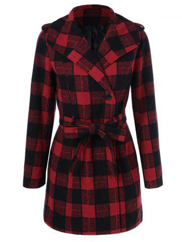 One Button Design Manteau Plaid Carré XL