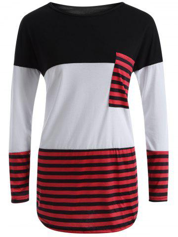 Cheap Stripe Color Block Pocket Long T-Shirt WHITE L