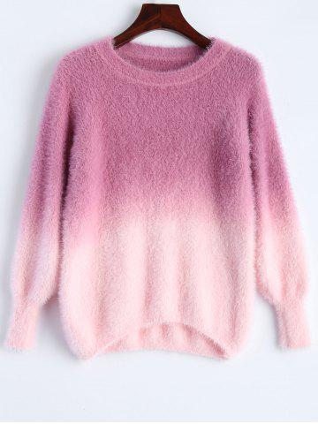 Cheap Ombre High-Low Fuzzy Sweater ROSE RED ONE SIZE