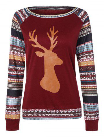 Unique Christmas Raglan Sleeve Stripe Elk T-Shirt WINE RED L