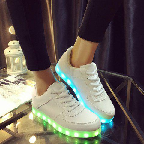 Led Luminous Lace-Up Athletic Shoes - WHITE - 33