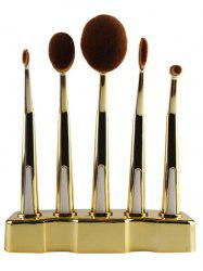 5 Pcs Nylon Oval Toothbrush Makeup Brushes Set with Brush Stand -