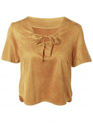 Plunging Neck Short Sleeve Lace-Up Faux Suede T-Shirt - CAMEL 2XL