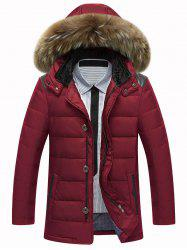 Zip Up PU Leather Insert Hooded Quilted Jacket - WINE RED 3XL