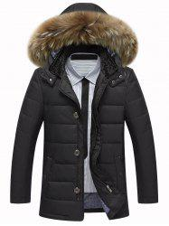 Zip Up PU Leather Insert Hooded Quilted Jacket
