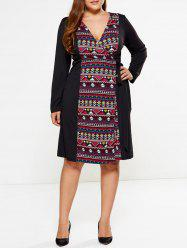Plus Size Geometric Print Wrap Dress