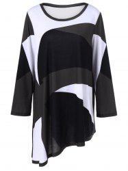 Plus Size Abstract Print Asymmetrical T-Shirt