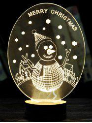 Merry Christmas Snow Man 3D LED base en bois Sleeping Night Light -
