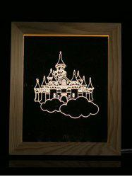 Wooden Photo Picture Frame Christmas Castle 3D Vision LED Night Light