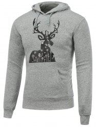 Pocket Deer Print Christmas Hoodie - GRAY XL