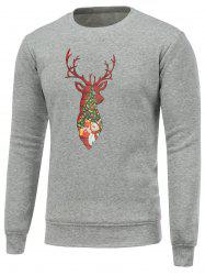 Deer Print Crew Neck Christmas Sweatshirt