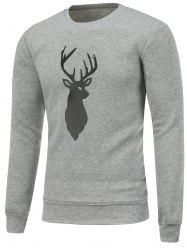 Crew Neck Deer Print Christmas Sweatshirt -