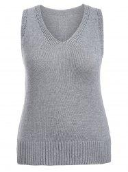 Plus Size Side Slit Knit Vest - GRAY