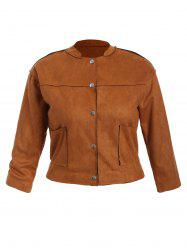 Plus Size Button Up Suede Jacket - TAN