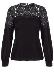 Loose Cut Out Lace Spliced Blouse