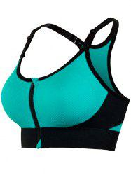 Zipper Front Strappy Racerback Sports Bra - TURQUOISE M