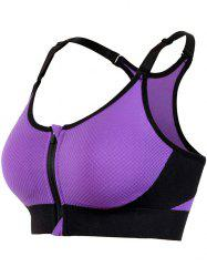 Zipper Front Strappy Racerback Sports Bra - PURPLE L