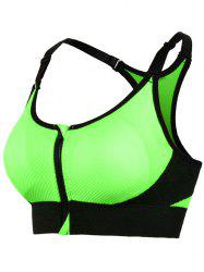 Zipper Front Strappy Racerback Sports Bra - NEON GREEN