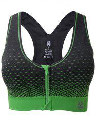 Zipper Front Contrast Racerback Yoga Push Up Sports Bra - BLACK AND GREEN