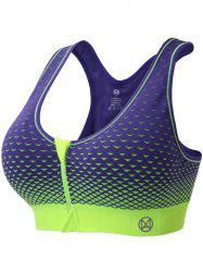Zipper Front Contrast Racerback Yoga Push Up Sports Bra - AMETHYST