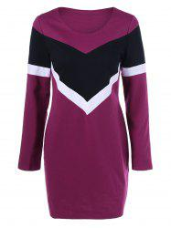 Long Sleeve Color Block T Shirt Dress - RED LILAC M