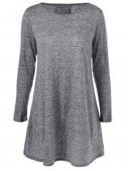 Lace-Up Ribbed Long Sleeve Day Dress - GRAY M
