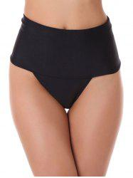Thongs High Waisted Briefs - BLACK