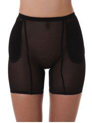 See Thru Cut Out Boyshort Panties - BLACK