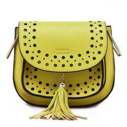 Trendy Hollow Out and Tassels Design Crossbody Bag For Women - YELLOW