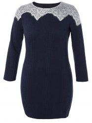 Plus Size Lace Insert Knitted Mini Bodycon Dress