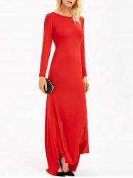 Backless Maxi Formal Long Sleeve Evening Dress - RED L