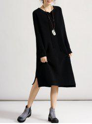 Oversized Jumper Dress - BLACK