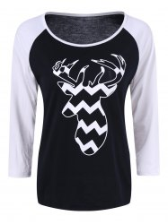Raglan Sleeve Deer Christmas Tee