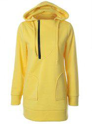 Hooded Half Zipper Pullover Yellow Hoodie