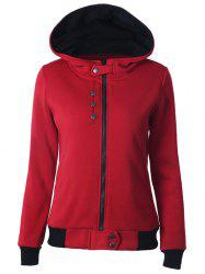 Zipper capuche Two Tone Hoodie - Rouge 2XL