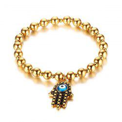 Stainless Steel Eye Hamsa Hand Beading Bracelet - GOLDEN
