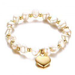 Polished Heart Faux Pearl Charm Bracelet