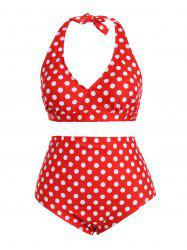 Retro Halter Polka Dot Plus Size Pin Up Bikini Set