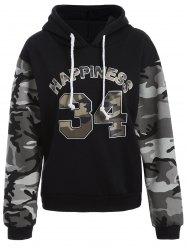 Letter Graphic Camo Hoodie -