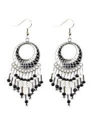 Beads Tassel Snakeskin Round Drop Earrings -