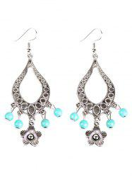Flower Bead Hollowed Water Drop Earrings -