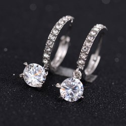 Rhinestone Round Earrings - SILVER