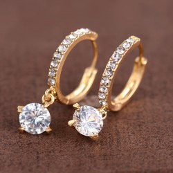 Rhinestone Round Earrings - GOLDEN