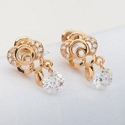 Floral Shape Rhinestone Earrings