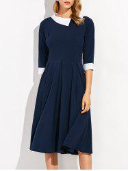 Zippered Half Sleeve Lapel Dress -